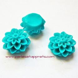 Cabochon résine dahlia turquoise 15mm pour bijoux, perles et apprêts