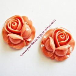 Cabochon résine rose vieux rose 27mm, pour bijoux, perles et apprêts