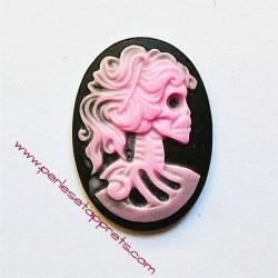 Cabochon résine camée squelette rose 24mm pour bijoux, perles et apprêts