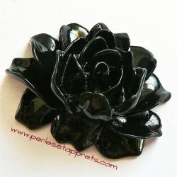Cabochon résine fleur noire 46mm pour bijoux, perles et apprêts
