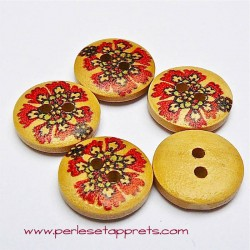 Bouton rond en bois fleur rouge 15mm, pour la couture, bijoux, perles et apprêts