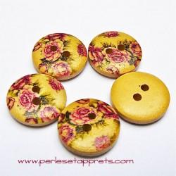 Bouton rond en bois roses 15mm, pour la couture, bijoux, perles et apprêts