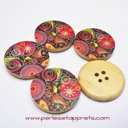Bouton en bois mandala multicouleur 30mm, pour la couture, bijoux, perles et apprêts