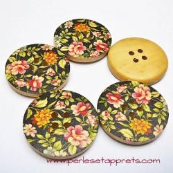 Bouton en bois fleurs multicouleur 30mm pour la couture, bijoux, perles et apprêts