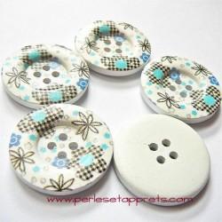 Bouton en bois blanc, fleur bleu-noir 30mm pour la couture, bijoux, perles et apprêts