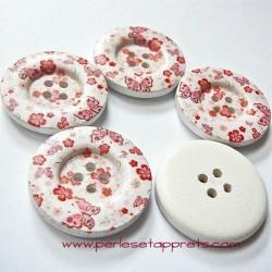 Bouton en bois blanc, papillon rouge 30mm, pour la couture, bijoux, perles et apprêts