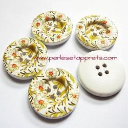 Bouton en bois blanc, marguerite jaune 30mm pour la couture, bijoux, perles et apprêts