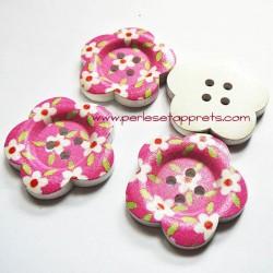 Bouton en bois blanc, fleur rose 37mm, pour la couture, bijoux, perles et apprêts