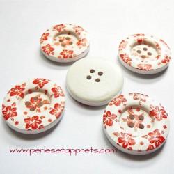 Bouton en bois blanc rond fleur rouge 30mm, pour la couture, bijoux, perles et apprêts