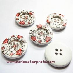 Bouton en bois blanc fleur rouge noir 30mm pour couture, bijoux, perles et apprêts
