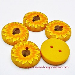 Bouton rond tournesol jaune 19mm en fimo, pâte polymère, fait main,  perles et apprêts