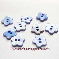 Bouton fleur en nacre bleu 14mm, pour la couture, bijoux, perles et apprêts