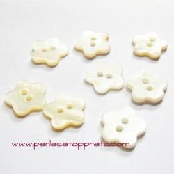 Bouton fleur en nacre blanc 14mm, pour la couture, bijoux, perles et apprêts