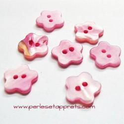 Bouton fleur en nacre rose 14mm, pour la couture, bijoux, perles et apprêts