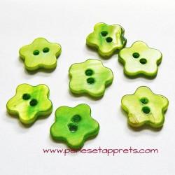 Bouton fleur en nacre vert 14mm, pour la couture, bijoux, perles et apprêts