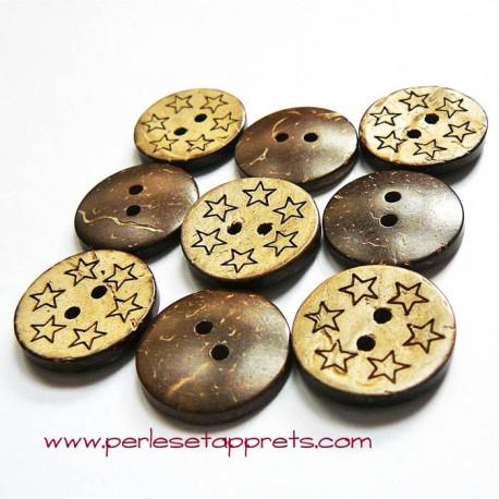 Bouton noix de coco étoiles 18mm