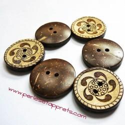 Bouton noix de coco virgules 23mm