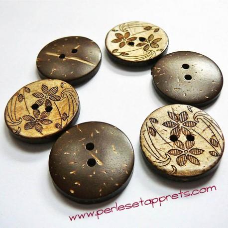 Bouton noix de coco fleurs 23mm