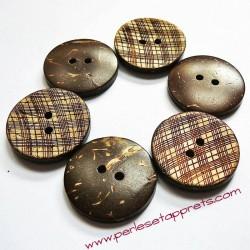 Bouton noix de coco rayé 23mm