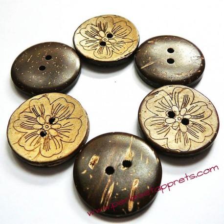 Bouton noix de coco fleur 25mm