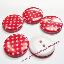 Bouton rond en résine rouge 23mm, pour la couture, bijoux, perles et apprêts
