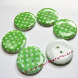 Bouton en résine vert 23mm