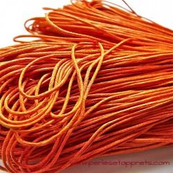 Fil orange en coton ciré 1mm pour bijoux, bracelet, perles et apprêts