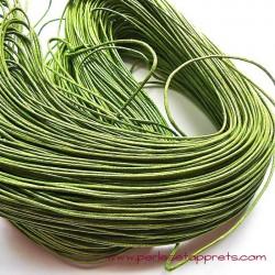 Fil vert en coton ciré 1mm pour bijoux, bracelet, perles et apprêts