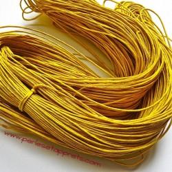 Fil jaune en coton ciré 1mm pour bijoux, bracelet, perles et apprêts