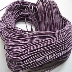 Fil mauve en coton ciré 1mm pour bijoux, bracelet, perles et apprêts