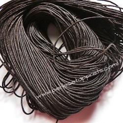 Fil marron foncé en coton ciré 1mm pour bijoux, bracelet, perles et apprêts