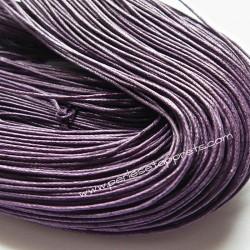 Fil violet en coton ciré 1mm pour bijoux, bracelet, perles et apprêts