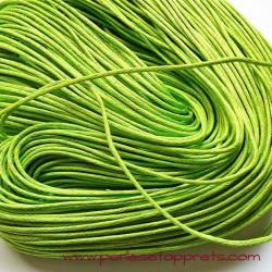 Fil vert en coton ciré 1,5mm pour bijoux, bracelet, perles et apprêts