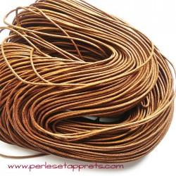 Fil marron en coton ciré 1,5mm pour bijoux, bracelet, perles et apprêts