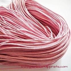 Fil rose en coton ciré1,5mm pour bijoux, bracelet, perles et apprêts