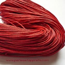 Fil rouge en coton ciré 1mm pour bijoux, bracelet, perles et apprêts