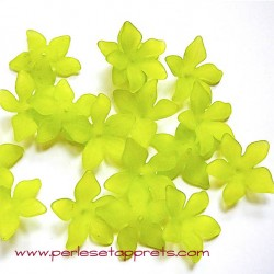 Fleur acrylique verte 30mm pour bijoux, perles et apprêts