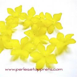 Fleur acrylique jaune 30mm pour bijoux, perles et apprêts