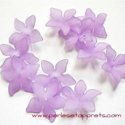 Fleur acrylique violet mauve 30mm pour bijoux, perles et apprêts