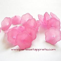 Fleur acrylique rose 20mm pour bijoux, perles et apprêts