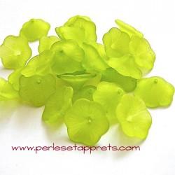 Fleur acrylique verte 20mm pour bijoux, perles et apprêts