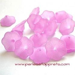 Fleur acrylique mauve 20mm pour bijoux, perles et apprêts