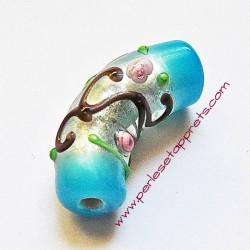 Perle en verre tube bleu 35mm