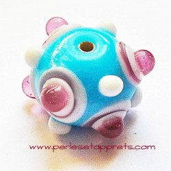 Perle ronde picot en verre bleu rose 17mm