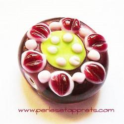 Perle ronde fleur en verre rouge 26mm