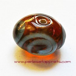 Perle ronde en verre marron bleu 18mm
