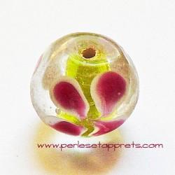 Perle ronde en verre blanc rose 16mm