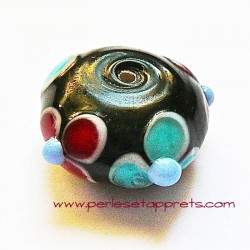 Perle ronde fleur en verre noir 18mm