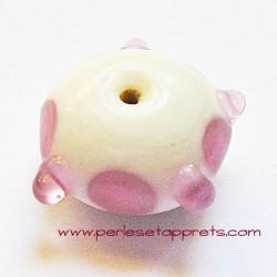 Perle ronde picot en verre blanc rose 18mm