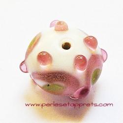 Perle ronde picot en verre blanc rose vert 18mm